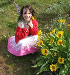 Girl by Flowers - Resampled